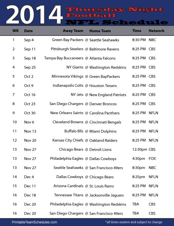 NFL 2014 Thursday Night Football Schedule