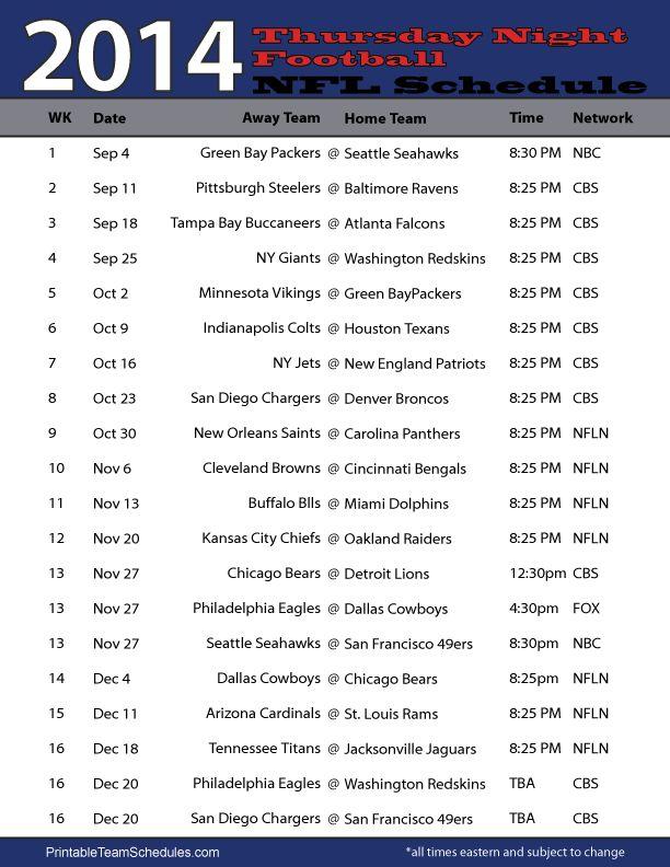 NFL 2014 Thursday Night Football Schedule