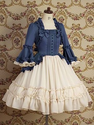 Lolita Fashion | Classical | VM Blue and cream ruffled Loki dress Check out the website to see more