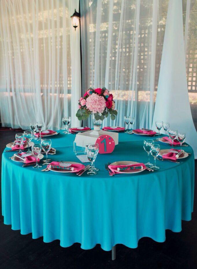 Wedding bright pink centerpieces blue