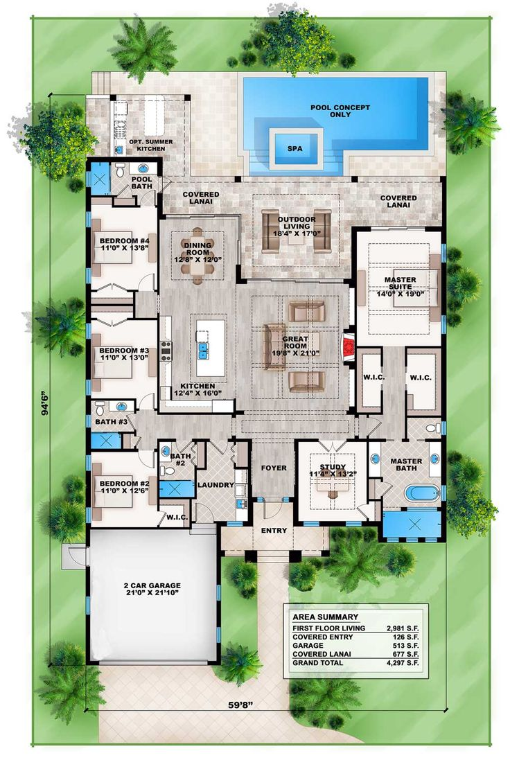 Gainesville Luxury Designer Home: Plan 86028BW: Florida Living With Wonderful Outdoor Space