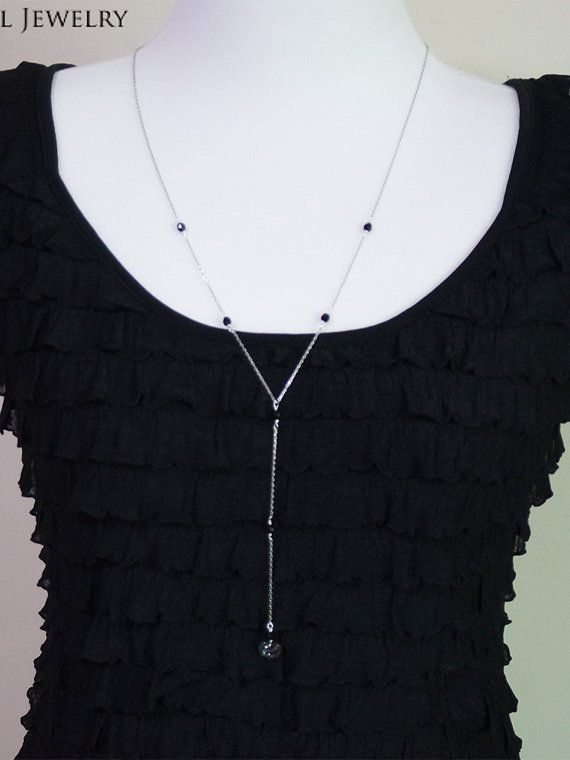 Long Y Necklace Long Necklace Layering Necklace by YaesilJewelry
