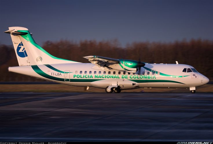 Policía Nacional de Colombia Avions de Transport Régional ATR-42-300 T7-LBA at Düsseldorf-Mönchengladbach, January 2017. The aircraft, which is still wearing the livery of previous operator UTair on the rudder here, was re-registered as PNC-0244 upon delivery. (Photo: Dennis Muller)