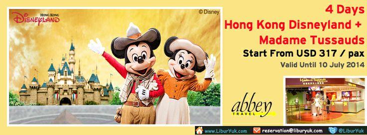 Yuk booking paket 4 Hari Hong Kong #Disneyland + #Madame #Tussauds sekarang juga dan dapatkan harga spesial. Dengan paket tersebut, Anda akan diajak berkeliling kota #Hongkong dan mengunjungi Madame Tussauds serta bermain sepanjang hari di Disneyland.  Dapatkan Spesial Paket tersebut dari #LiburYuk http://liburyuk.com/promotional-package/book/49614202/4D-HONGKONG-DISNEYLAND-+-MADAME-TUSSAUDS #AbbeyTravel #jalan2 #holiday