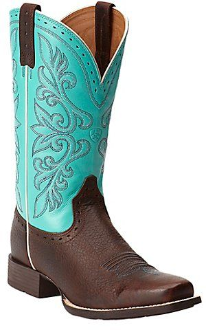 Ariat Rundown Brown Oiled Rowdy with Turquoise Top Punchy Square Toe Western Boots | Cavender's