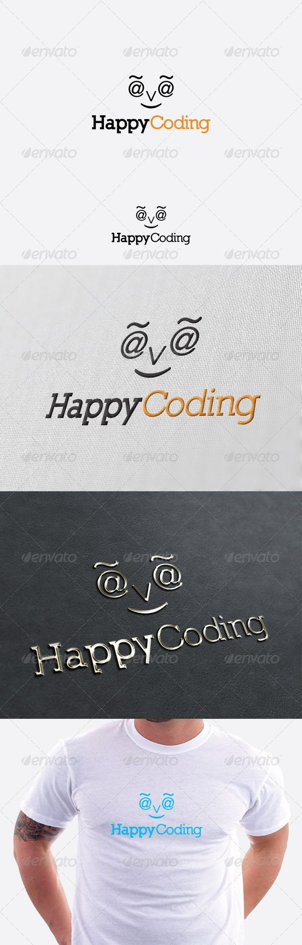 Happy Coding Logo Template GraphicRiver Re sizable Vector
