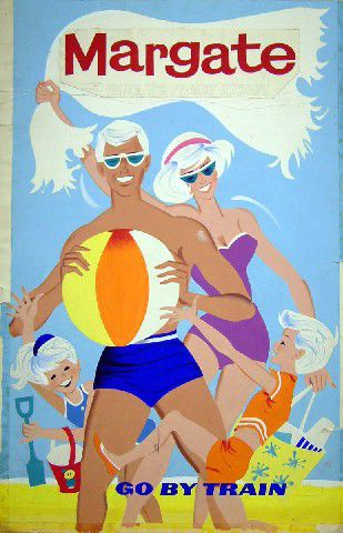 1960s British Rail vintage beach travel poster advertising the Kent seaside town Margate