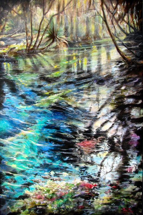 "Lithia Spring is a fine art landscape acrylic painting of a spring of water in Florida, created by artist Wayne Chunat. - <p><span style=""font-size:14px;""><span style=""font-family:georgia,serif;"">Reproduction of a 36"" x 24"" Acrylic Painting</span></span>.</p>"