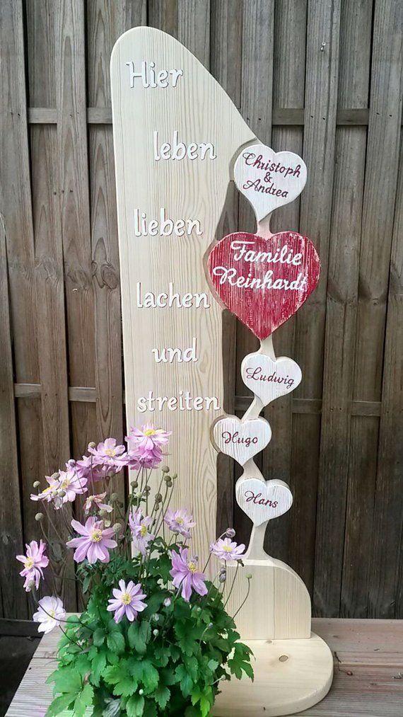 Holz Stele Leben Lieben Lachen Streiten Familie Holzschild Holzbrett Aufsteller Weihnachten Geschenk