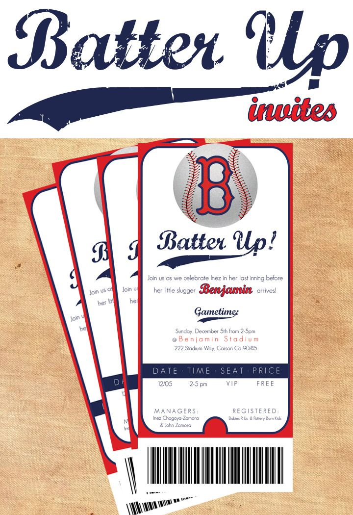 baseball invitations-- obviously not the Boston design but like the idea