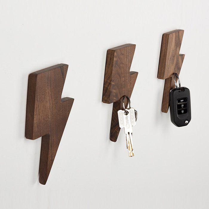 Fancy Lightning Magnetic Wooden Key Holder Key Holder Diy Wooden Key Holder Wall Key Holder
