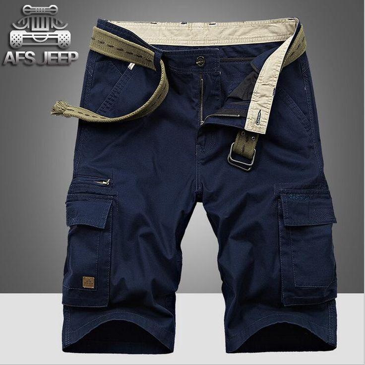 AFS JEEP Multi-pockets Cargo Shorts Summer Casual Mens Shorts Soild Cotton bermuda moletom masculino Plus Size 42 Shorts No Belt
