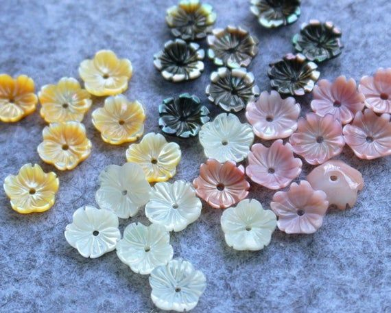6pcs 10mm Mother of Pearl Shell Flower Beads,Natural Mother Of Pearl Beads,MOP Carved Flower Beads,Shell Flower 3 Petals,Jewelry Making,138