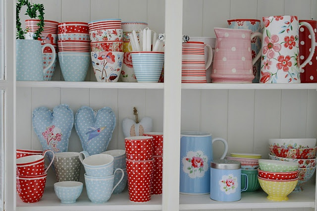Love all of this! Red and aqua/light blue Cath Kidston style kitchen stuff