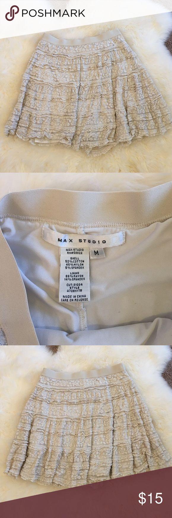 "Max Studio Lace Miniskirt Size Med Max Studio cream colored Lace Miniskirt. Elastic waistband, slip underneath. About 18"" long. Good condition, no visible damage. Size Medium. Max Studio Skirts Mini"