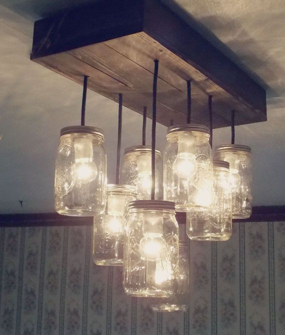 Mason jar light fixture to replace tiny lights in my huge for Chandelier bois flotte
