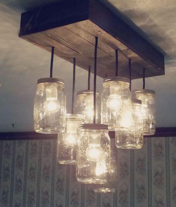 ONSALE ! Lustre 12 Lumière Mason Jar, Conserve, Pot Lumineux, Luminaire  Suspendu, Mason Jar Léger, Lustre Rustique | Idées Cuisine | Pinterest | Mason  Jar ...