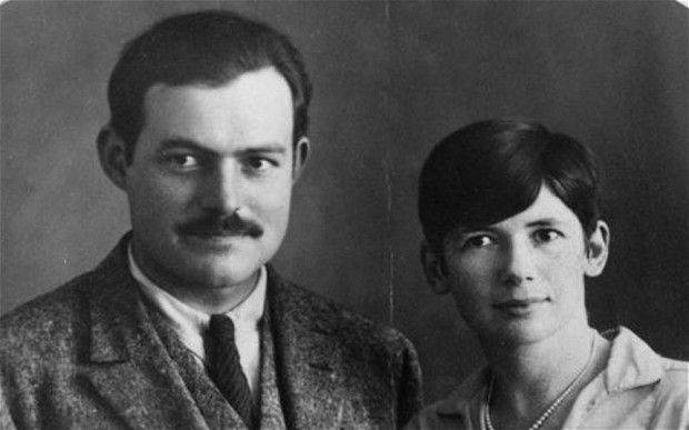 Ernest Hemingway and Pauline Pfeiffer in their wedding day photo from May 10, 1927, in Paris.
