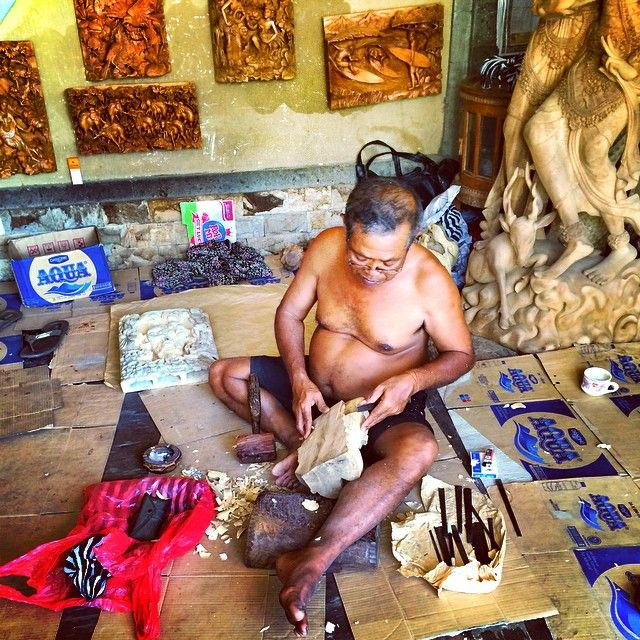Mas/Kemenuh, Sukawati, Bali - Woodcarving is the most prominent art carried out by the people in Kemenuh; it is an additional vocation besides working as a farmer.