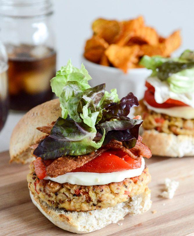 roasted red pepper quinoa + white bean burgers