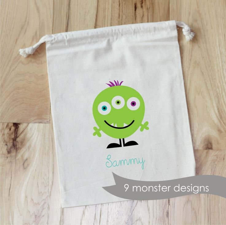 MONSTER PARTY -  Personalized Favor Bags - Set of 10 - Birthday by foryourlittlemonkey on Etsy https://www.etsy.com/listing/205358037/monster-party-personalized-favor-bags