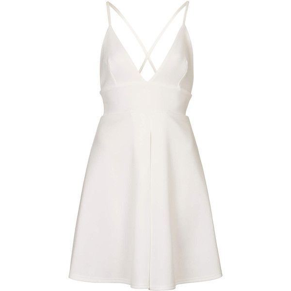 **Plunging V Scuba Skater Dress by Oh My Love (71 RON) ❤ liked on Polyvore featuring dresses, vestidos, cream, skater dresses, white skater dress, pleated dresses, white surplice dress and white dress