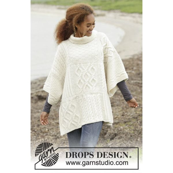 Winter 100% PURE WOOL Hand Knit Cardigan Alpaca Wool SWEATER Pure... (€300) via Polyvore featuring tops, poncho style tops, wrap top, poncho top, long white top and white poncho top