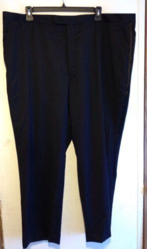 NWT STAFFORD Men Wool Suit Separates Dress Pants Black Flat Front Big Tall 48x30