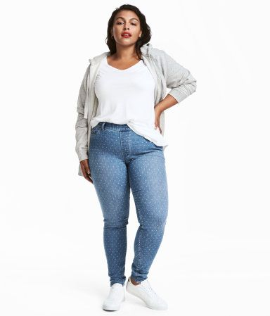 Light blue. Patterned treggings in stretch twill with a regular waist. Elasticized waistband, mock front pockets, and regular back pockets. Slim legs.