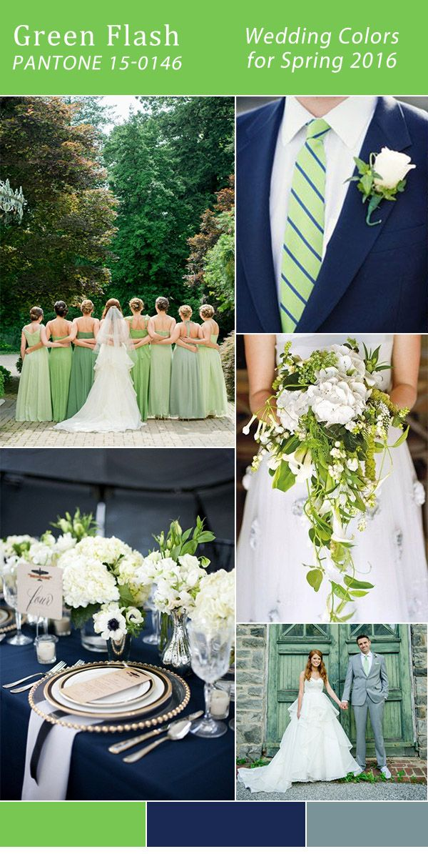 pantone 2016 spring color green flash and navy blue wedding color ideas