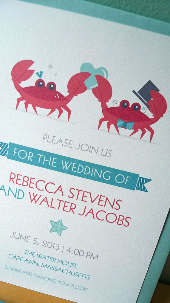 On Etsy: Crab Wedding Invitation Whimsical Beach by NOTESbyredletter, $27.60/set of 12