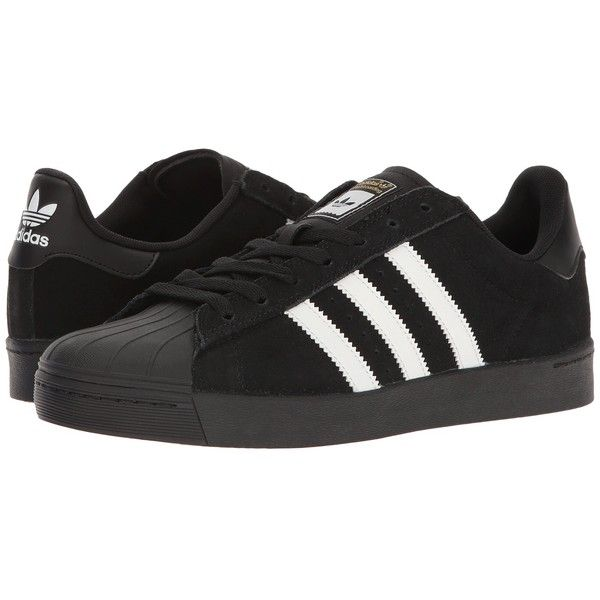 adidas Skateboarding Superstar Vulc ADV (Black/White/Black) Skate... ($80) ❤ liked on Polyvore featuring shoes, athletic shoes, stripe shoes, black athletic shoes, breathable shoes, adidas athletic shoes and skate shoes