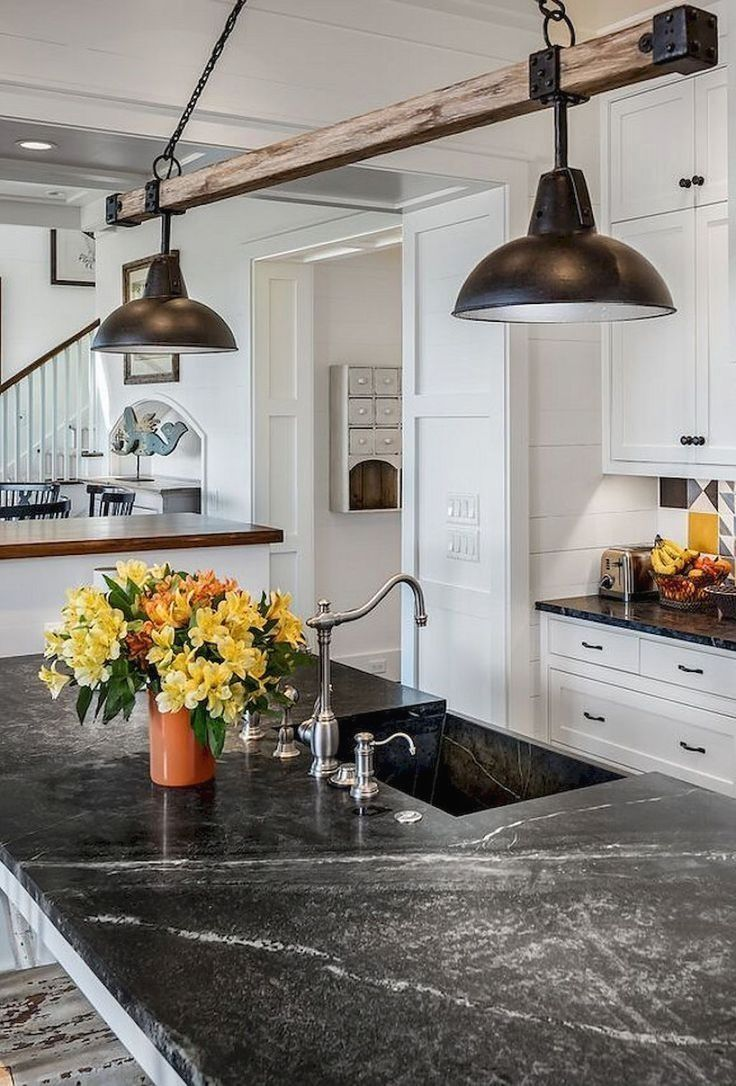 20 Creative Lighting Design Ideas To Beautify The Farmhouse Kitchen In 2020 Farmhouse Kitchen Lighting Farmhouse Kitchen Remodel Rustic Kitchen