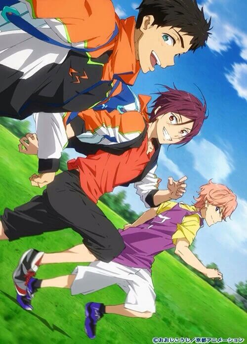 Free! ES ~~ Sosuke, Rin, and someone else. :: EDIT: Apparently, the pink haired kid is supposedly Kisumi Shigino.