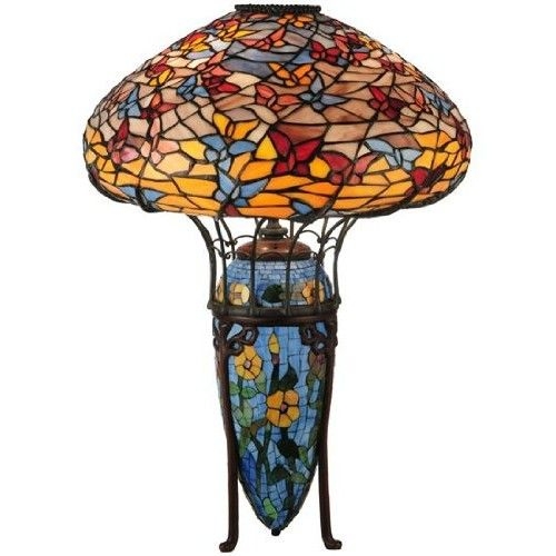 "Meyda Lighting 51249 26""H Tiffany Butterflies Table Lamp"