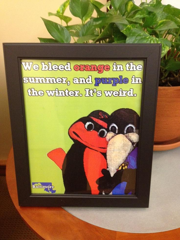 """we bleed orange & purple"" print"