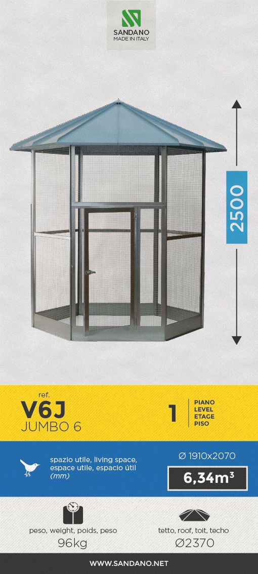 """#Voliera per uccelli • Bird's #aviary"""" • #Voliere pour les oiseaux • #Pajarera para aves ----- Jumbo 6 (V6J), MADE IN ITALY"""