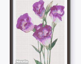 Lisianthus Cross Stitch Pattern, Lisianthus x stitch pattern, Home decor cross stitch pattern, Lilac Flower Cross stitch, Embroidery pattern