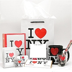 "I Love NY BEST OF Gift Package comes with:  I Love NY Playing Cards  I Love NY Paper Gift Bag - 8"" x 10""  I Love NY Mug - 11 oz  I Love NY Mint Tin with about 70 peppermints inside  I Love NY Milk Chocolate Bar  I Love NY Shot Glass  I Love NY Plastic Key Chain  I Love NY Photo Album - holds 100 photos  I Love NY Pen  I Love NY Note Pad    Great for your complete gift-giving needs for family, friends or work!"