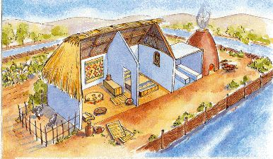 An Aztec residence circa 1500 AD. In the Aztec capital of Tenochtitlan, the residential districts surrounded the downtown area. As the city was built upon an artificial island, the houses were separated via canals; travel through the city was mainly by boat. This middle-class household has an oven (uncommon in European cities of the time), a milpa (mixed-crop agriculture), and some turkeys in the enclosure.