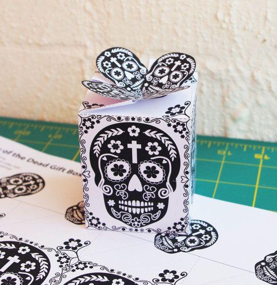 Día de Muertos  gift box  Day of the Dead Skulls by paper4download