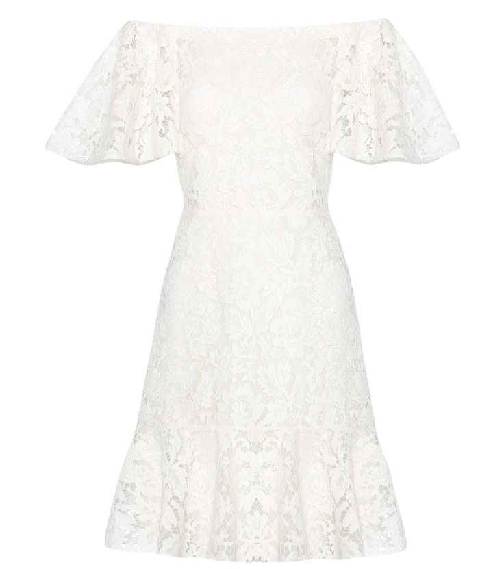 Valentino - Lace off-the-shoulder dress - Epitomise femininity in this elegantly alluring dress from Valentino – the ivory-hued lace offers a beautiful drape at the hem and sleeve, while fitting closely through the body for a flattering effect. Accentuate the off-the-shoulder silhouette by styling yours with a statement-making necklace. seen @ www.mytheresa.com