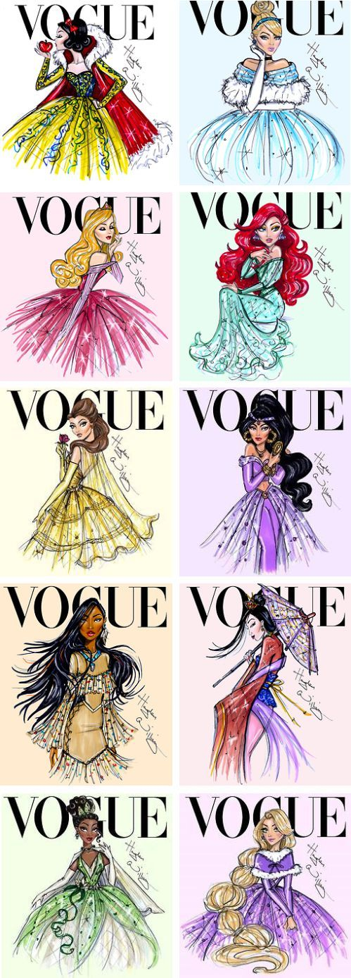 These utterly beautiful creations by Hayden Williams reimagined Disney Princesses gracing the cover of Vogue magazine. They all look so *fierce*! How cool is Ariel here?! // More Disney Princesses Reimagined Here