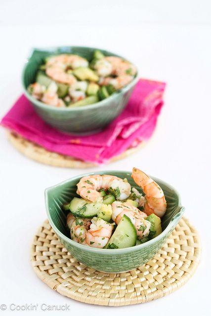 S - 10-Minute Thai Shrimp, Cucumber & Avocado Salad.  Use stevia instead of agave nectar.