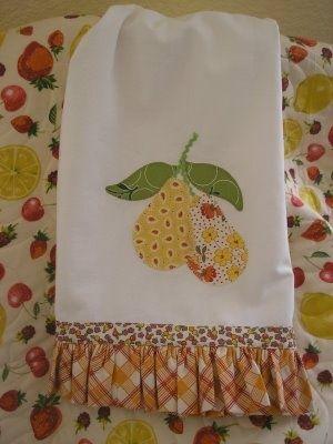 appliqued pear towel: