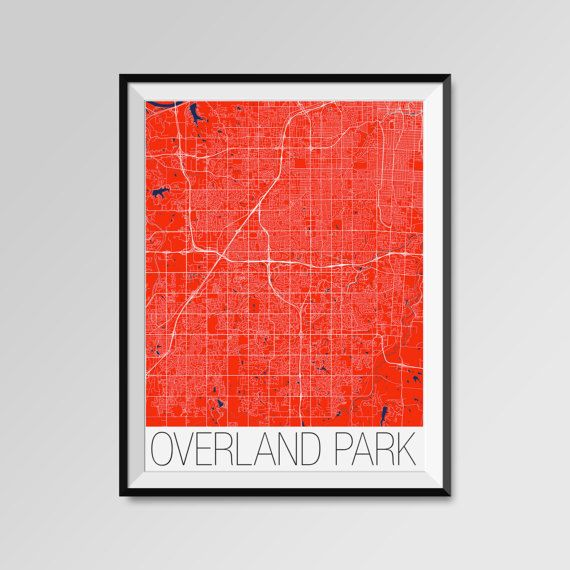 OVERLAND PARK City Map Print Modern City Poster by PFposters