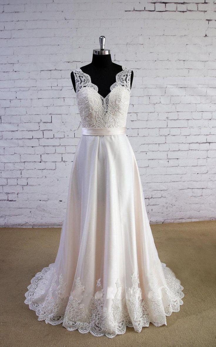 A Line Blush Wedding Dress,V-neckline Lace Bridal Dress