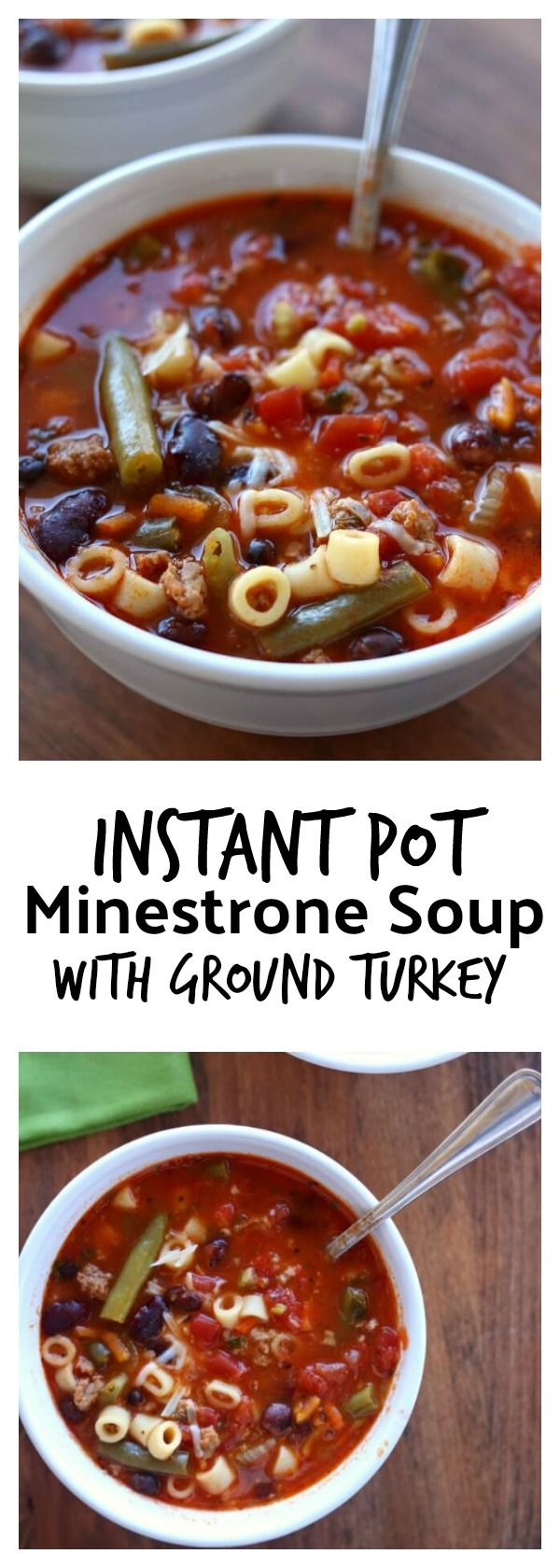 Instant Pot (Ground Turkey) Minestrone Soup–a colorful, healthy and brightly flavored soup that is full of vegetables, basil, beans, pasta, and ground turkey. Pressure cook this soup quickly and enjoy a warm bowl of deliciousness for dinner. #instantpot #pressurecooker
