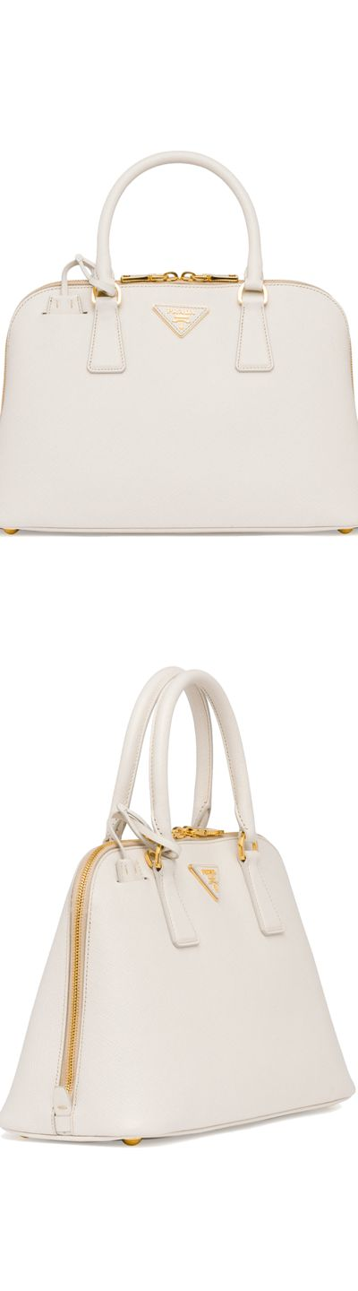Prada Medium Saffiano Promenade Bag,White (Talco)
