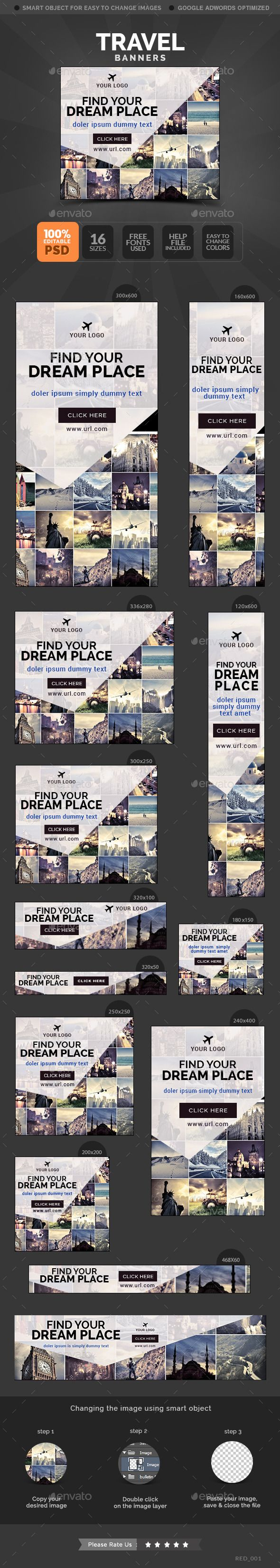 Travel banners Template PSD #banner #webbanner #design Download: http://graphicriver.net/item/travel-banners/10650142?ref=ksioks